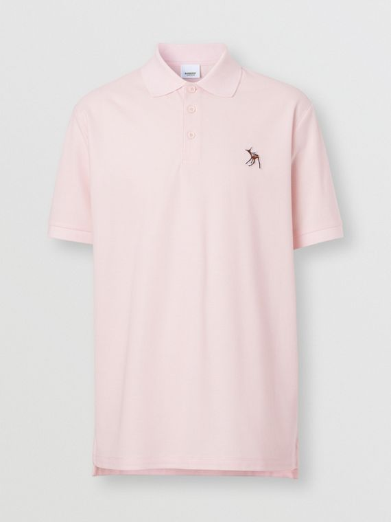 Deer Appliqué Cotton Piqué Polo Shirt in Alabaster Pink