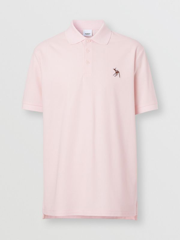 Deer Appliqué Cotton Piqué Polo Shirt in Alabaster Pink - Men | Burberry - cell image 3