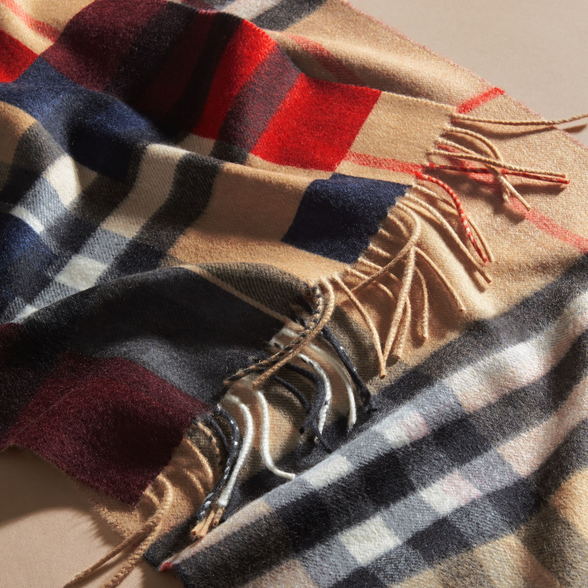 Parade red The Classic Cashmere Scarf in Colour Block Check - gallery image 5