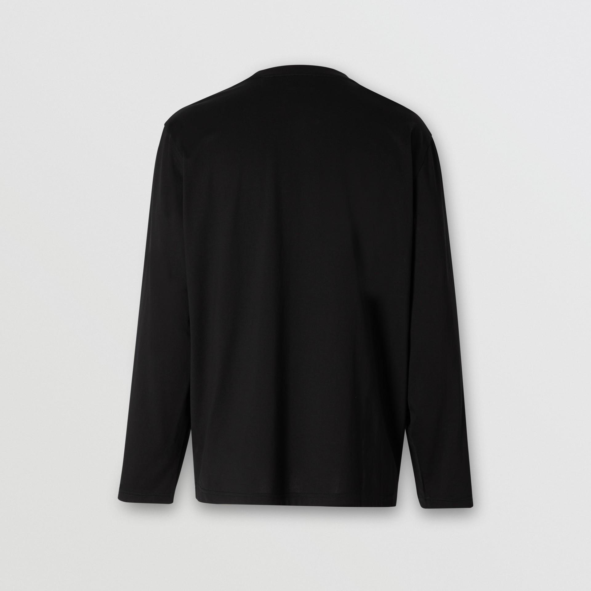 Haut à manches longues en coton avec logo (Noir) - Homme | Burberry - photo de la galerie 5
