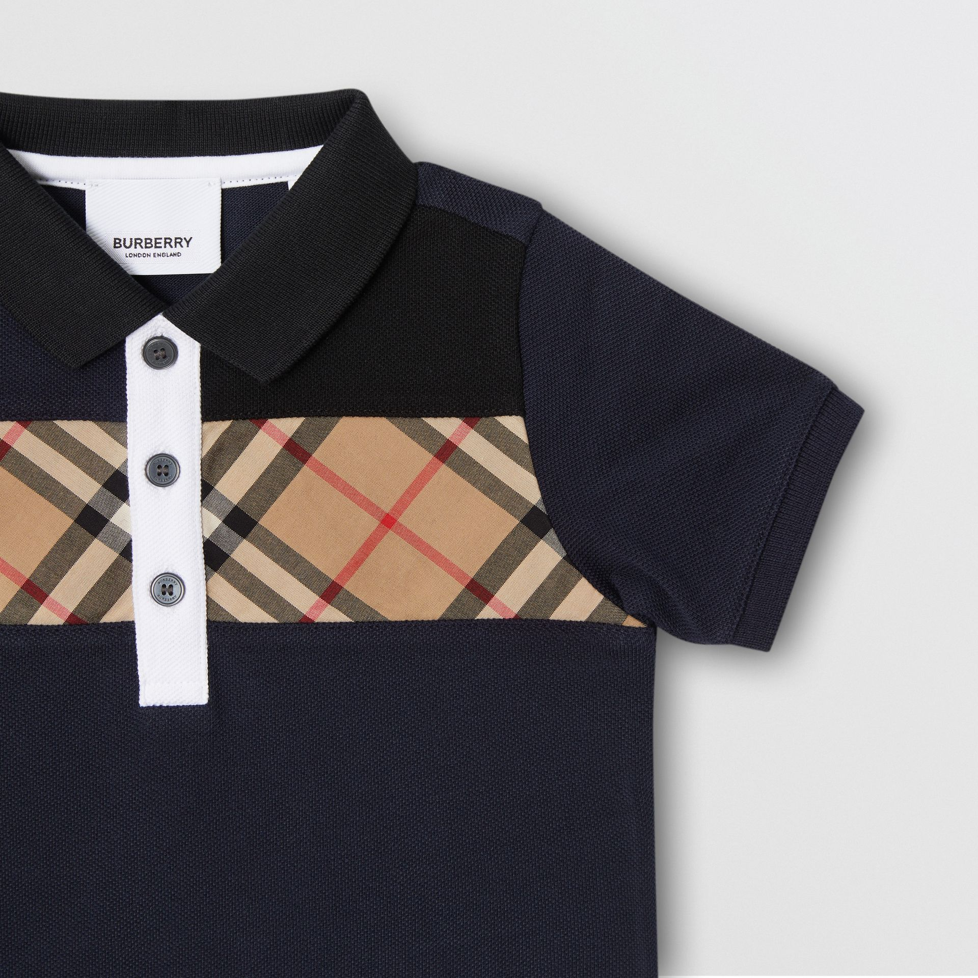 Vintage Check Panel Cotton Polo Shirt in Navy - Children | Burberry - gallery image 3