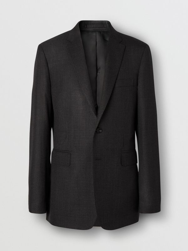 Slim Fit Prince of Wales Check Wool Suit in Dark Grey - Men | Burberry Australia - cell image 3