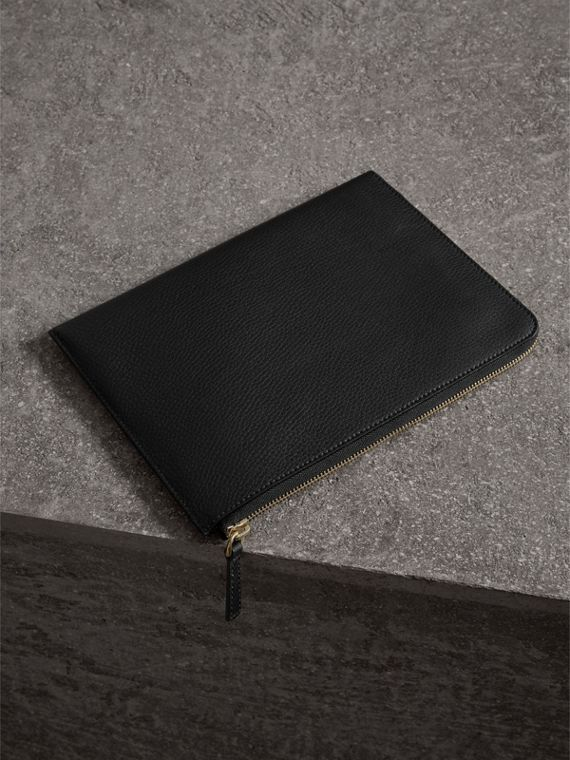 Embossed Leather Ziparound Pouch and Coin Case in Black | Burberry United States - cell image 2
