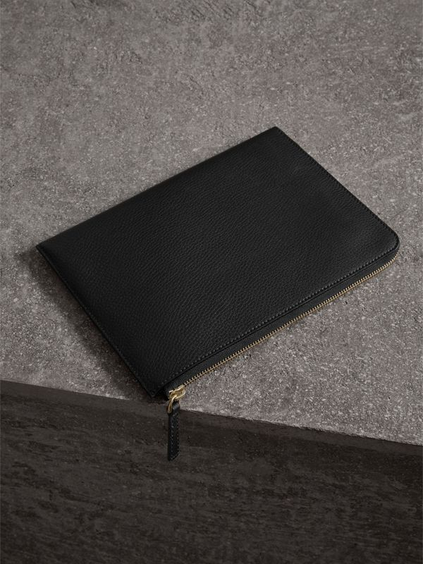 Embossed Leather Ziparound Pouch and Coin Case in Black | Burberry - cell image 2