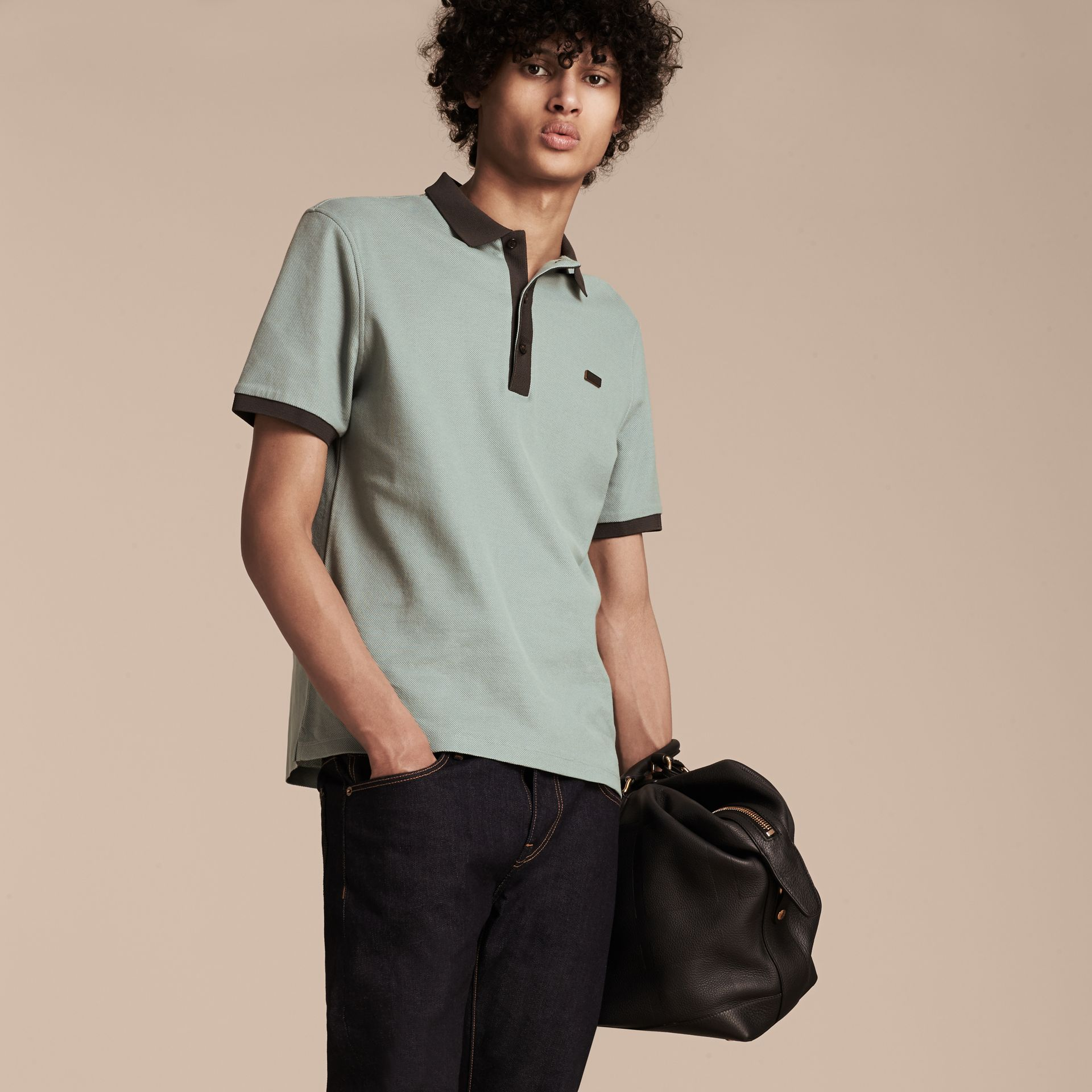 Eucalyptus green/charcoal Mercerised Cotton Piqué Polo Shirt Eucalyptus Green/charcoal - gallery image 5