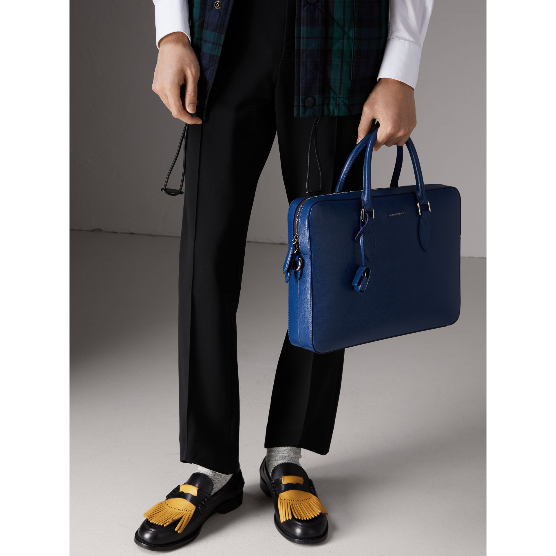 London Leather Briefcase in Deep Blue - Men | Burberry - gallery image 3