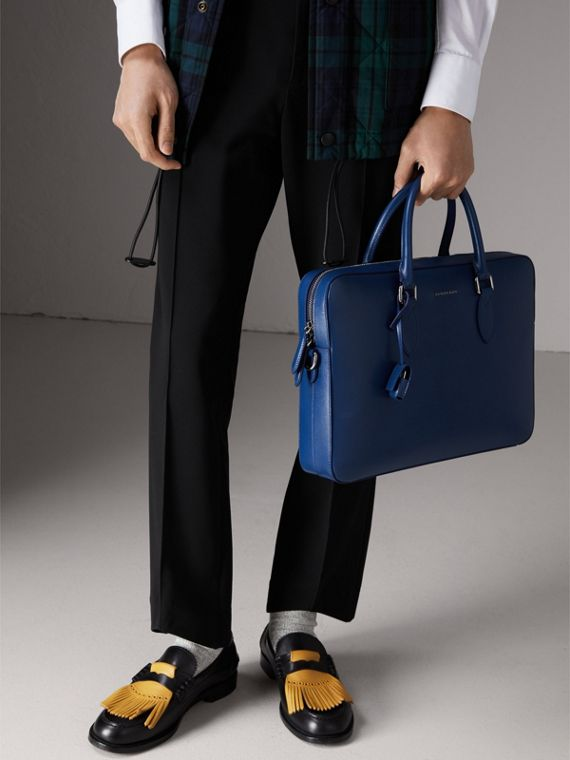 London Leather Briefcase in Deep Blue - Men | Burberry - cell image 3