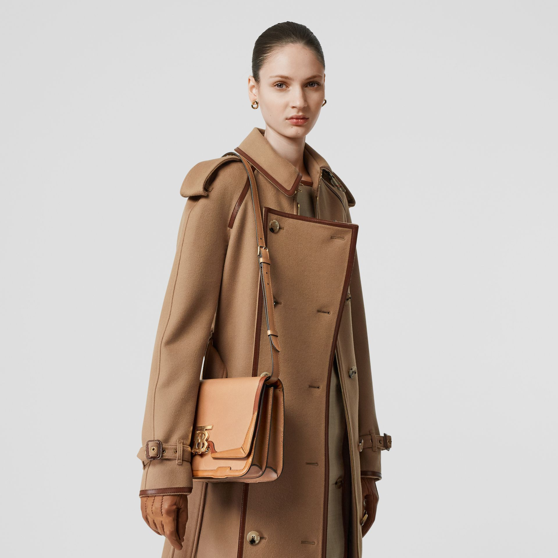 Medium Appliqué Leather TB Bag in Warm Camel - Women | Burberry - gallery image 2