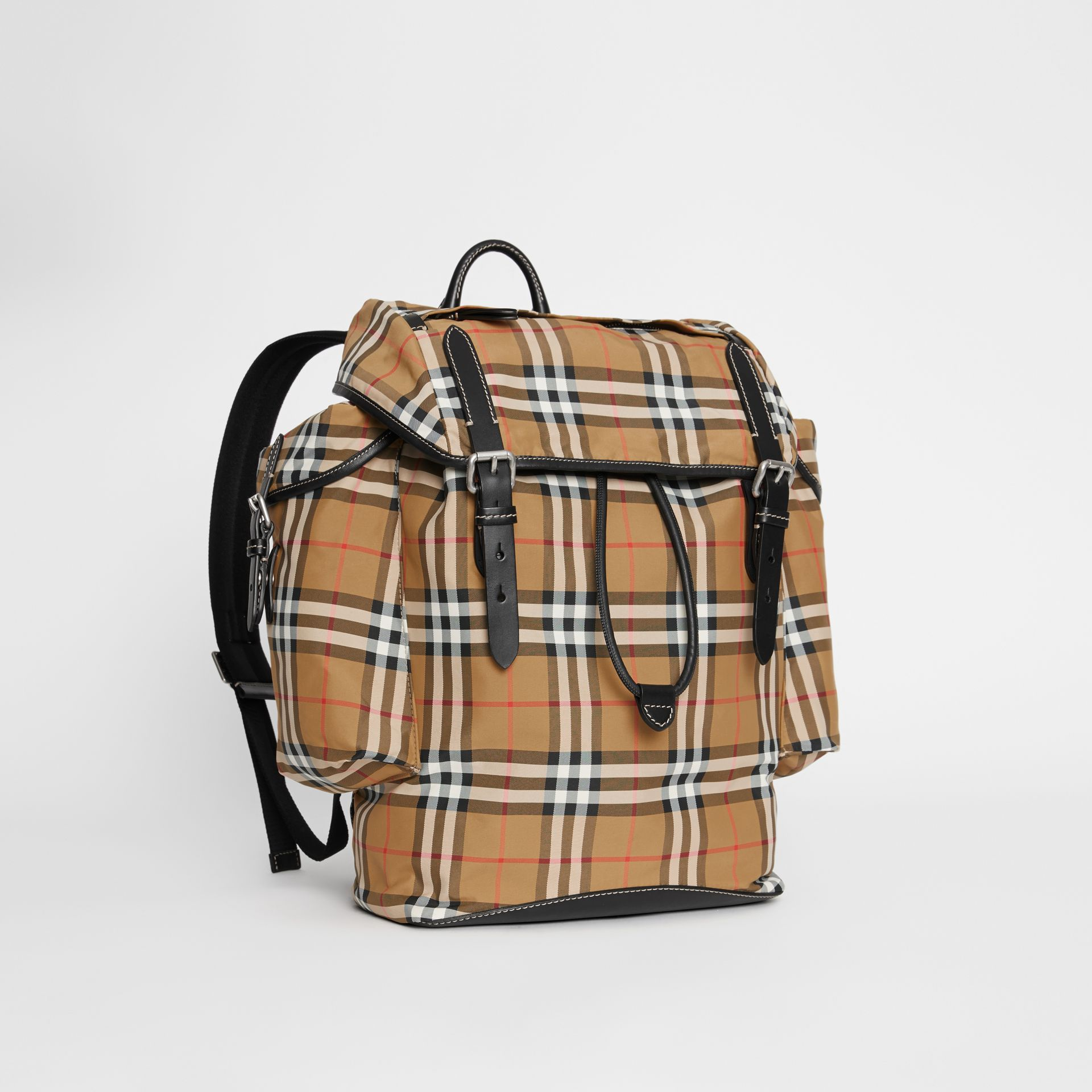 Vintage Check and Leather Backpack in Antique Yellow - Men | Burberry Hong Kong S.A.R - gallery image 6