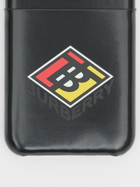 Logo Graphic Canvas iPhone X/XS Case in Black | Burberry Canada - cell image 1