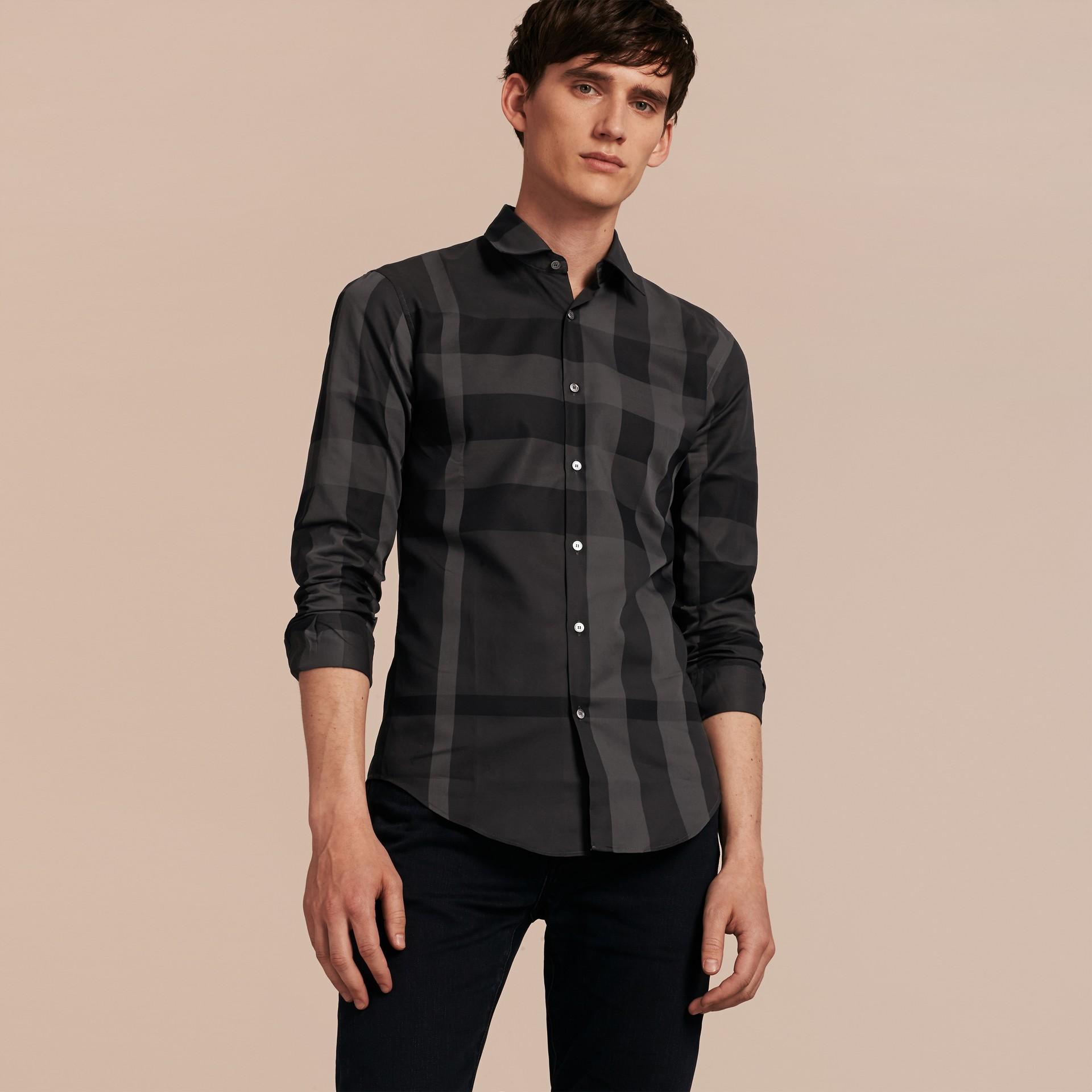 Gris marengo Camisa en algodón con estampado de checks Gris Marengo - imagen de la galería 6