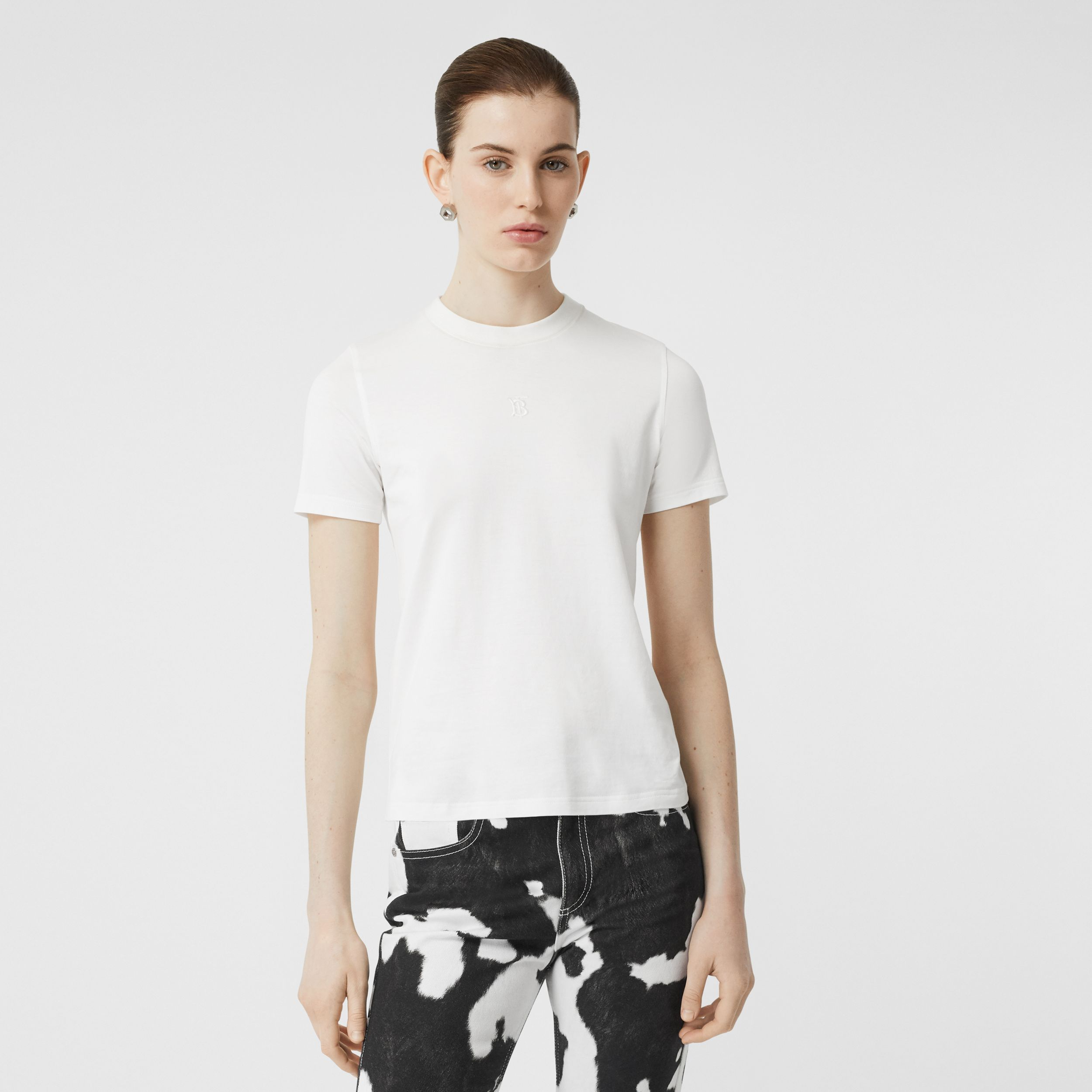 Monogram Motif Cotton T-shirt in White - Women | Burberry Australia - 1