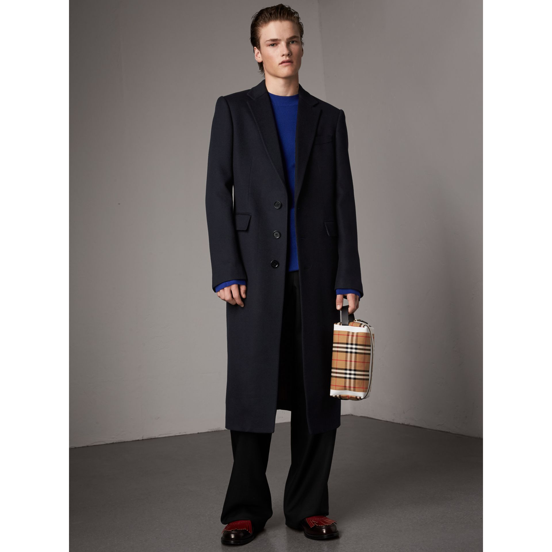 Tartan-lined Cashmere Twill Topcoat in Navy - Men | Burberry - gallery image 6
