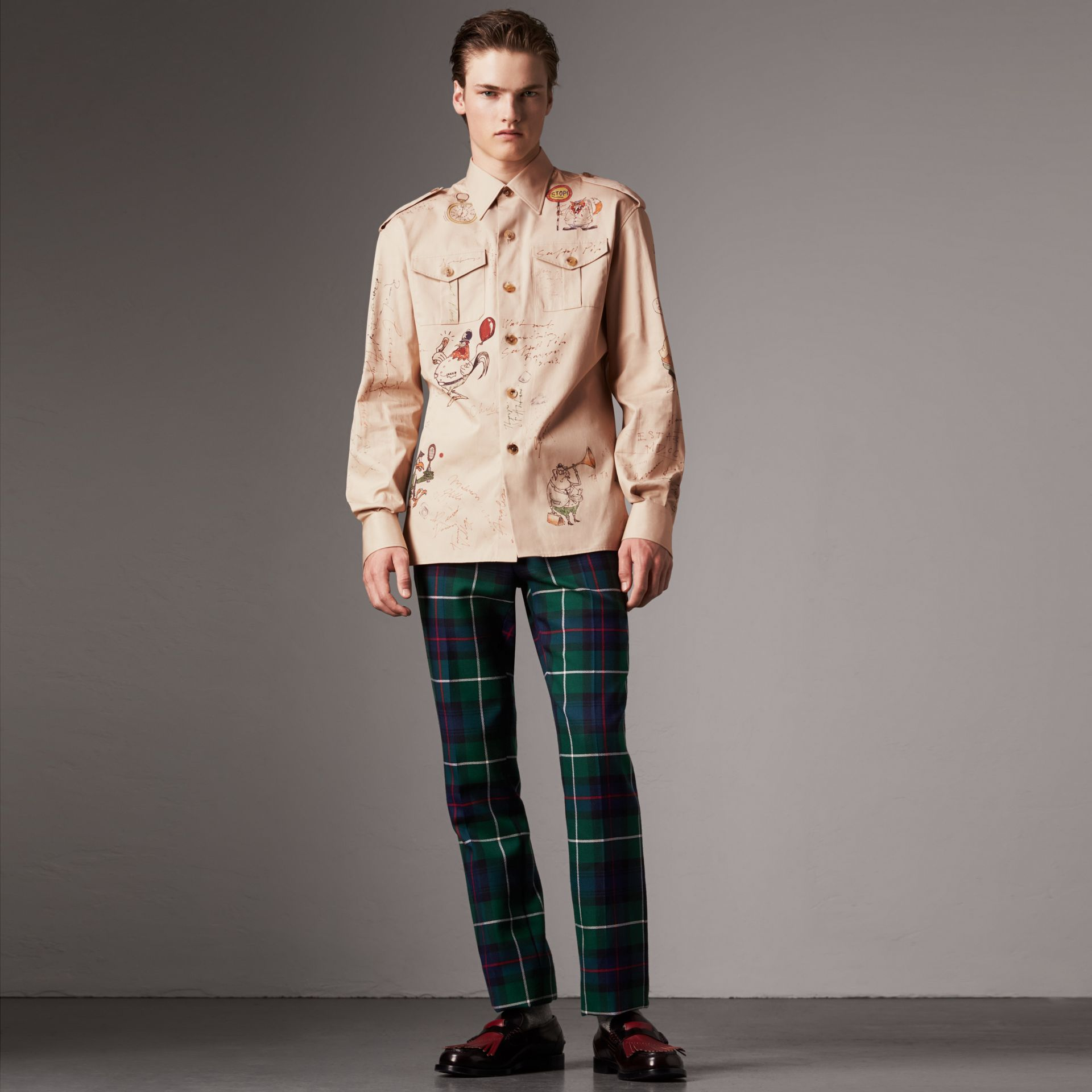Sketch Print Cotton Army Shirt in Sand - Men | Burberry - gallery image 0