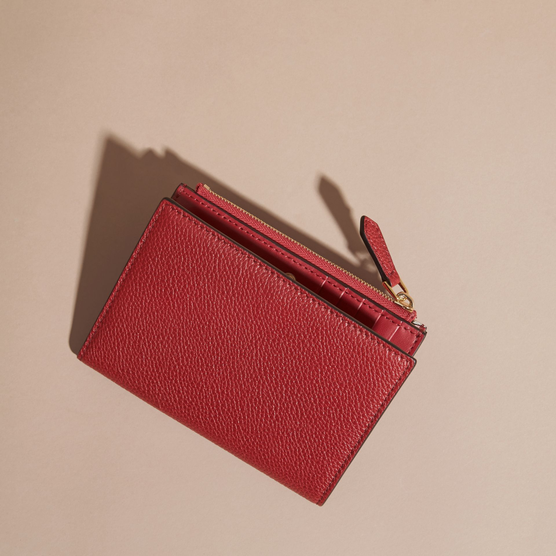 Leather Passport Wallet in Parade Red - gallery image 4