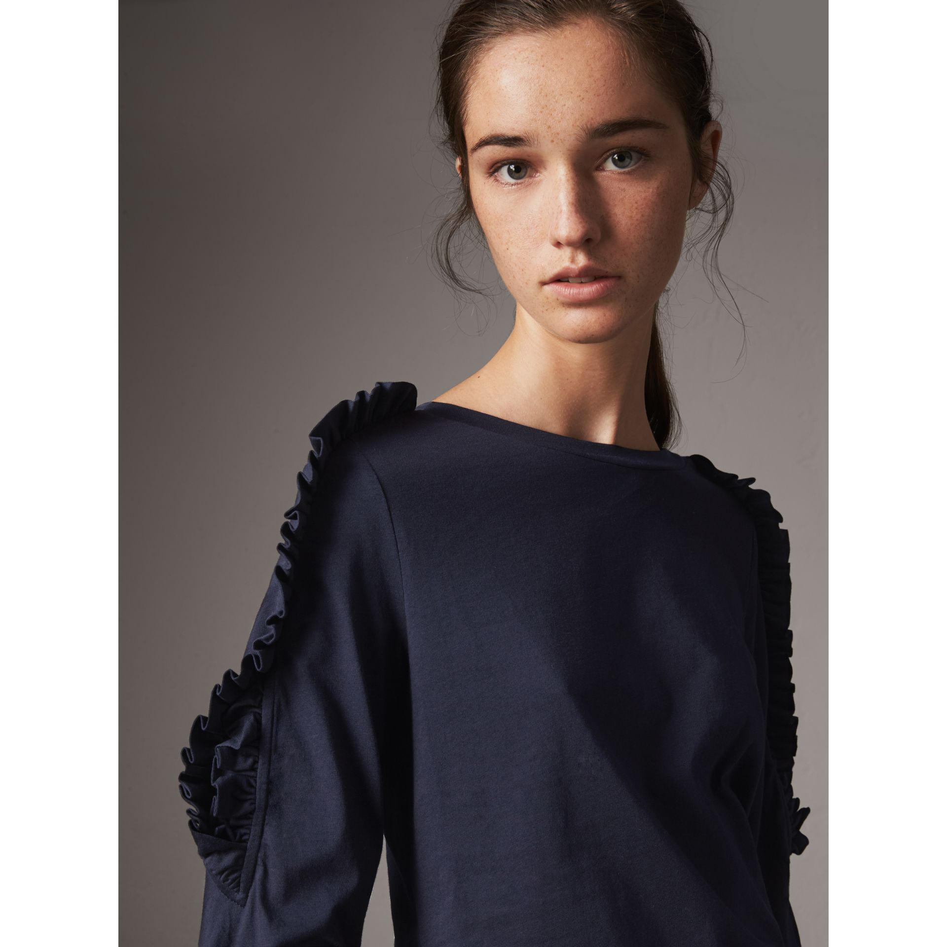 Ruffle Detail Cotton Top in True Navy - Women | Burberry - gallery image 1