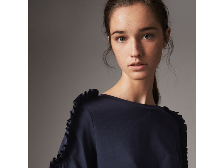 Ruffle Detail Cotton Top in True Navy - Women | Burberry - cell image 1