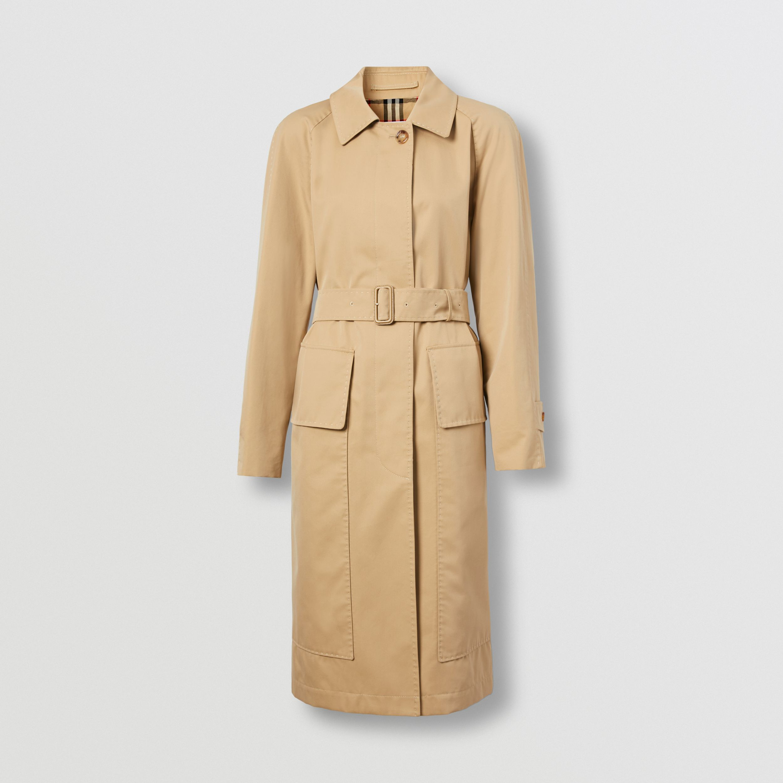 Cotton Gabardine Belted Car Coat in Honey - Women | Burberry United States - 4