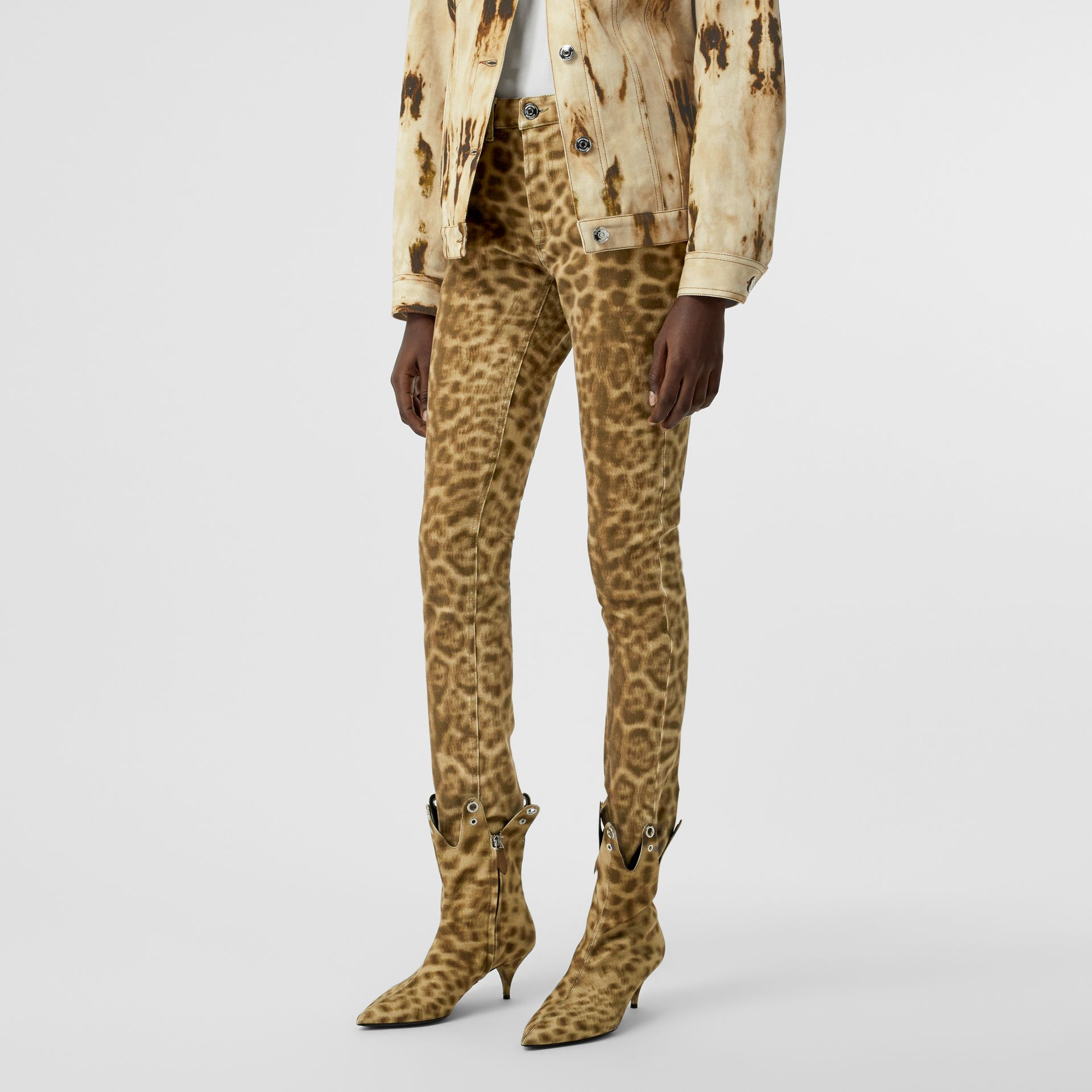 Straight Fit Leopard Print Japanese Denim Jeans in Beige - Women | Burberry - gallery image 3