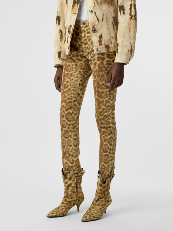 Straight Fit Leopard Print Japanese Denim Jeans in Beige - Women | Burberry - cell image 3