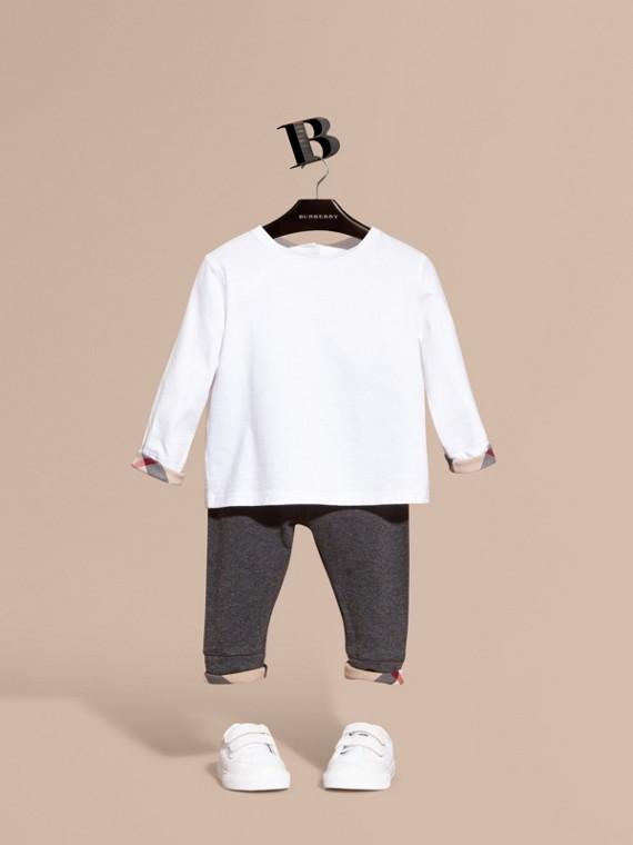 Legging en coton avec détails à motif check Camaïeu De Gris Moyens