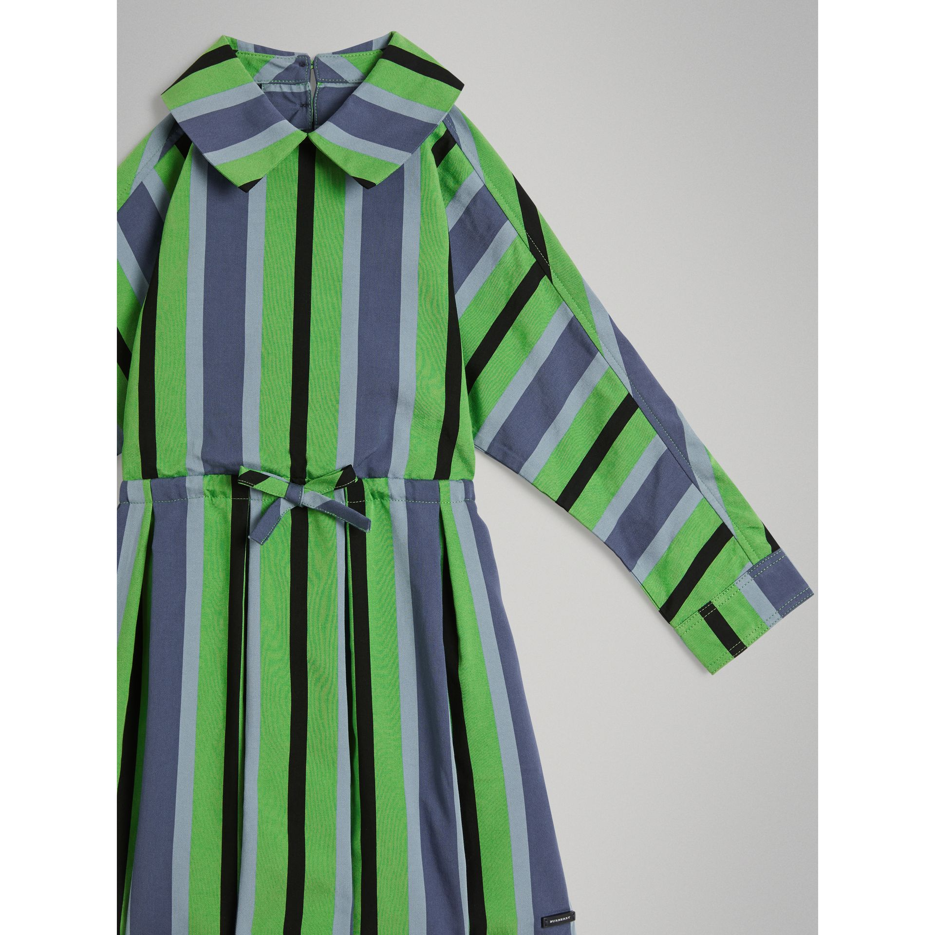 Striped Drawcord Dress in Teal | Burberry United States - gallery image 4