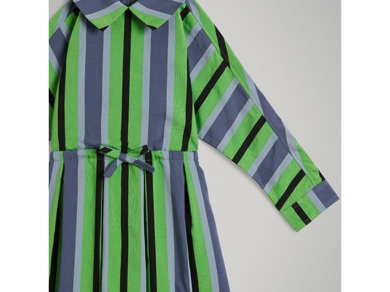 Striped Drawcord Dress in Teal - Girl | Burberry United Kingdom - cell image 4