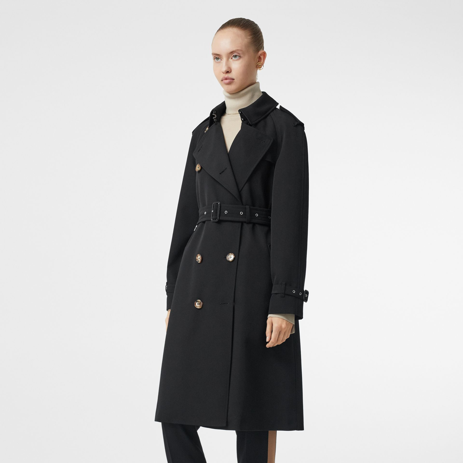 Wool Gabardine Trench Coat with Detachable Warmer in Black - Women | Burberry - gallery image 6