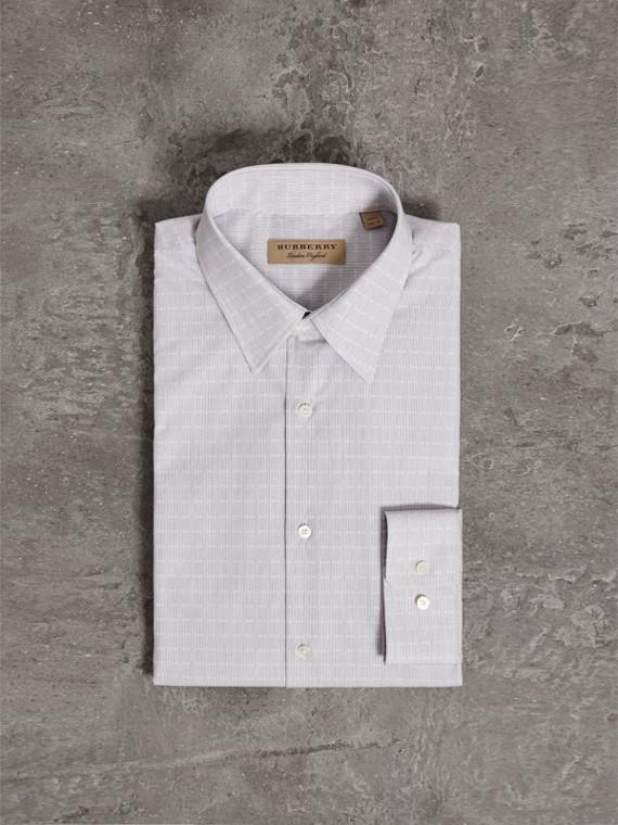 Camisa de algodão com corte moderno e textura geométrica (Azul Marinho)