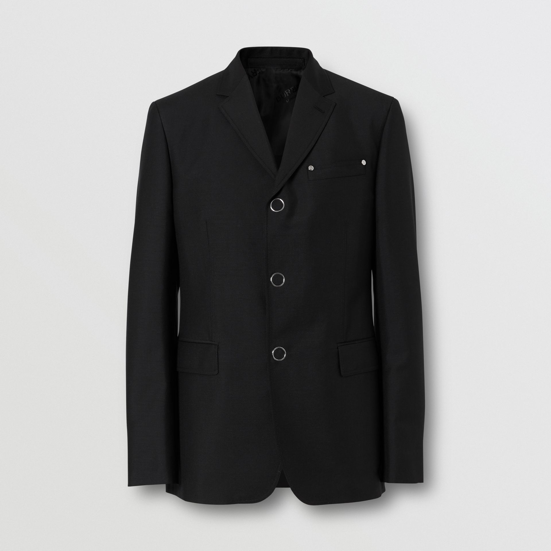 Slim Fit Press-stud Wool Mohair Tailored Jacket in Black - Men | Burberry - gallery image 2