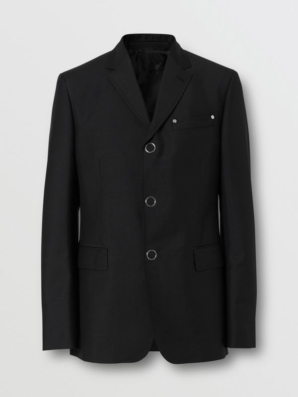 Slim Fit Press-stud Wool Mohair Tailored Jacket in Black - Men | Burberry - cell image 2
