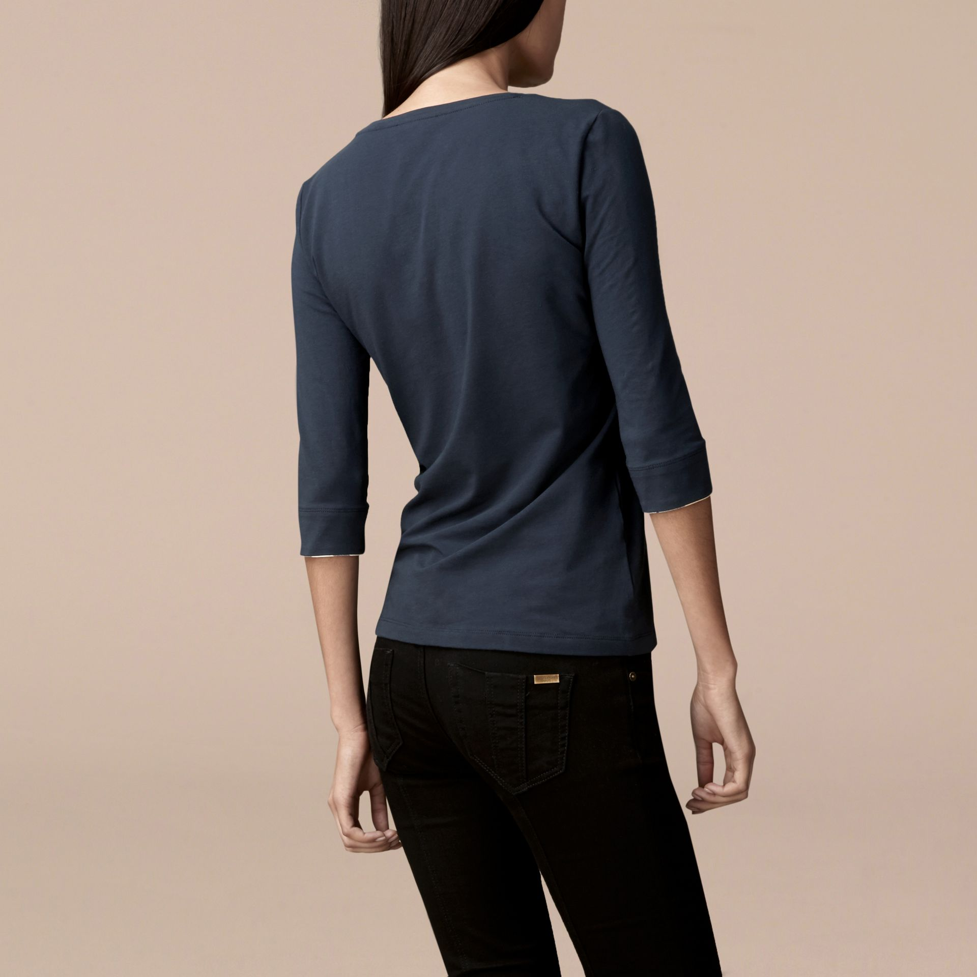 Check Cuff Stretch-Cotton Top in Navy - Women | Burberry Canada - gallery image 3