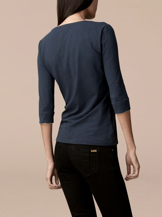 Check Cuff Stretch-Cotton Top in Navy - Women | Burberry Canada - cell image 2