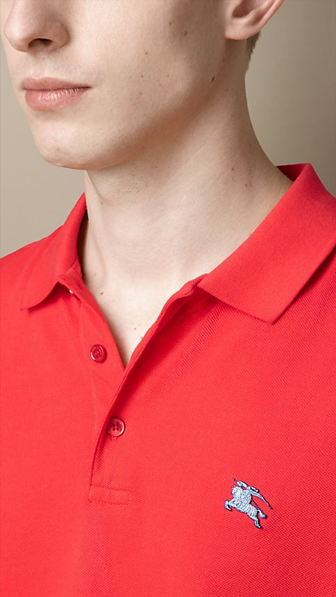 Military red Cotton Piqué Double Dyed Polo Shirt - Image 3