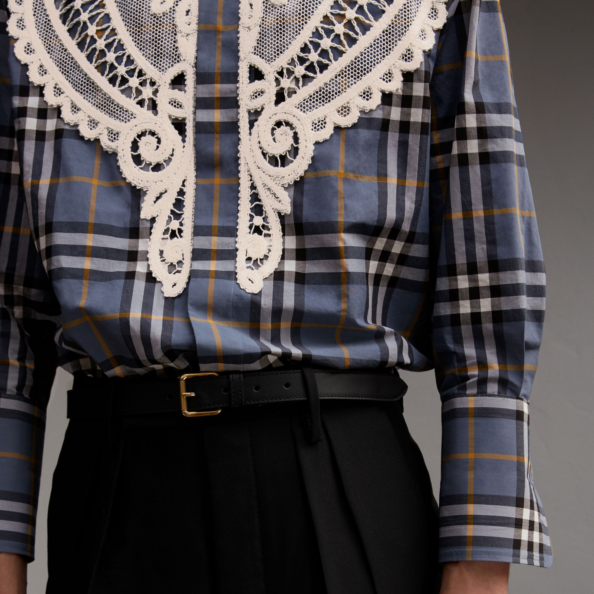 Lace Appliqué Check Cotton Shirt - Men | Burberry - gallery image 5
