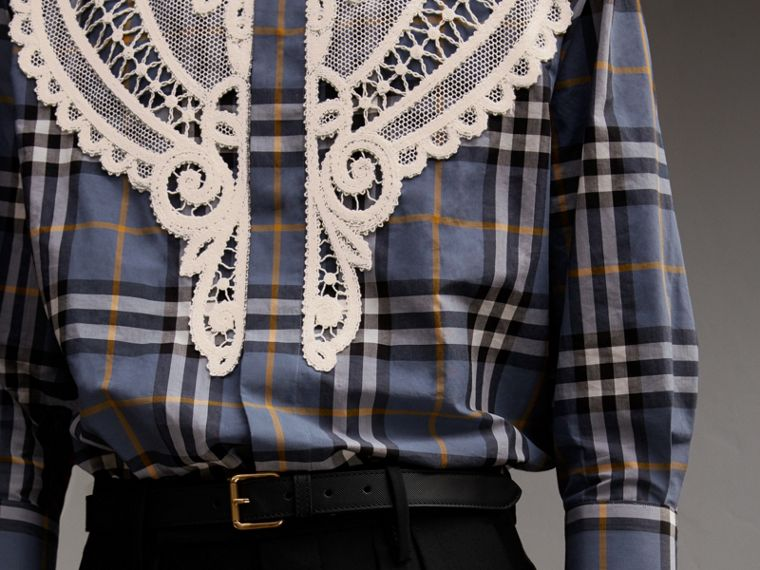 Lace Appliqué Check Cotton Shirt in Pewter Blue - Men | Burberry - cell image 4