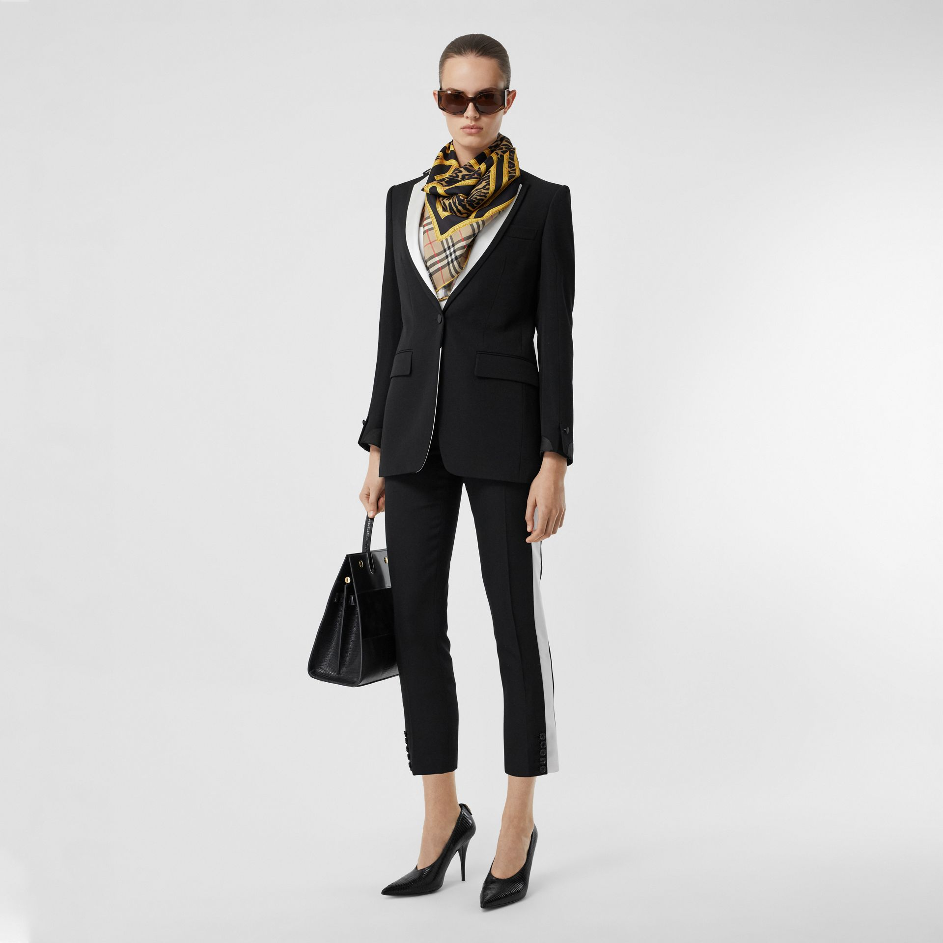Side Stripe Wool Tailored Trousers in Black - Women | Burberry Singapore - gallery image 0
