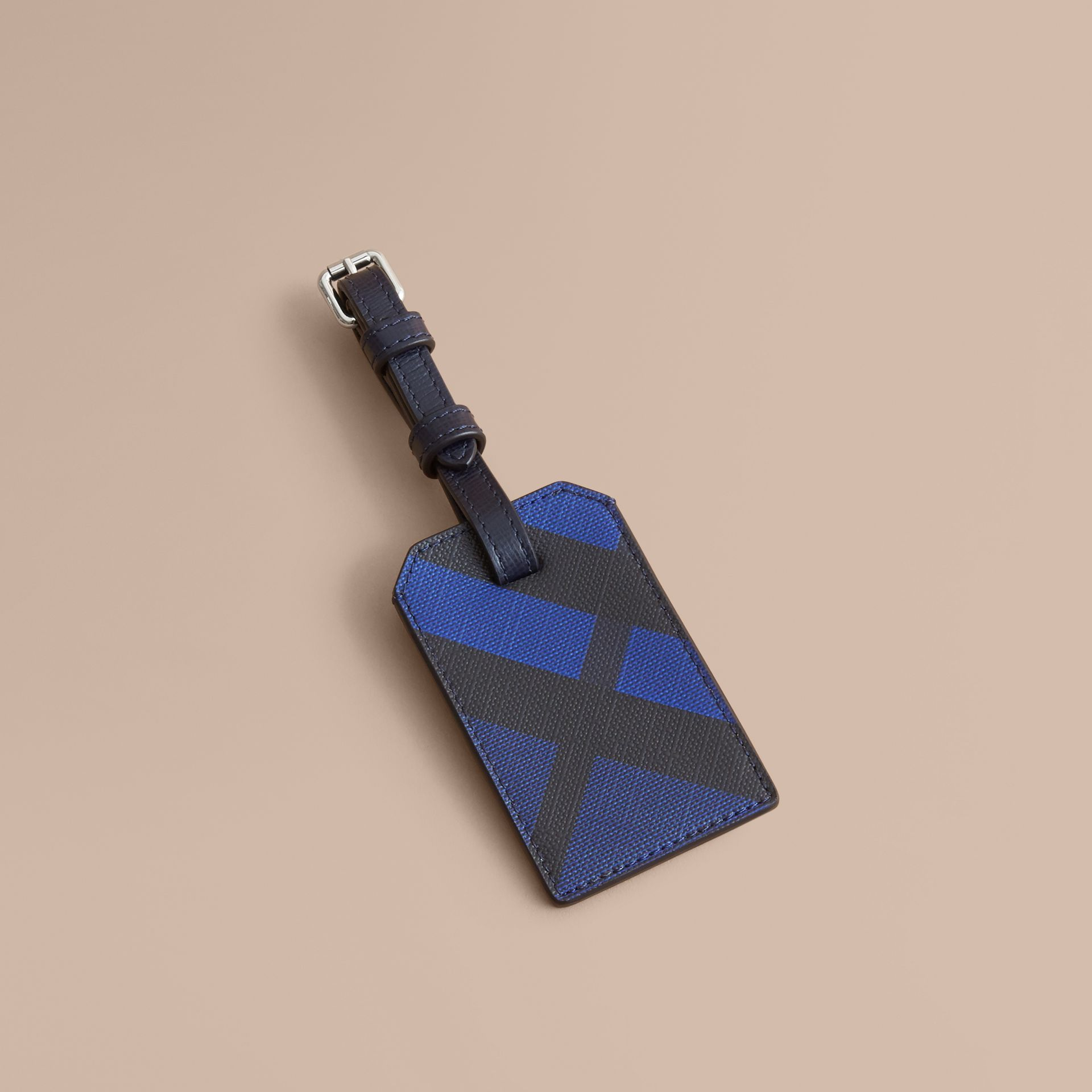 London Check Luggage Tag in Bright Lapis - Men | Burberry - gallery image 1