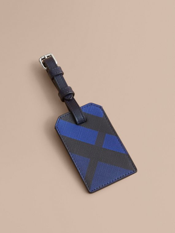 London Check Luggage Tag in Bright Lapis - Men | Burberry Canada