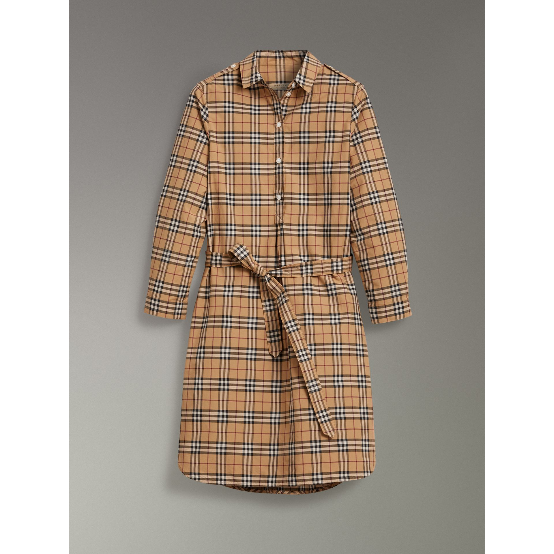 Check Cotton Tunic Dress in Camel - Women | Burberry Australia - gallery image 3