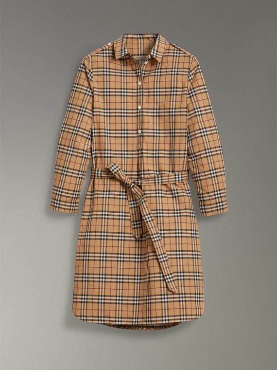 Check Cotton Tunic Dress in Camel - Women | Burberry - cell image 3