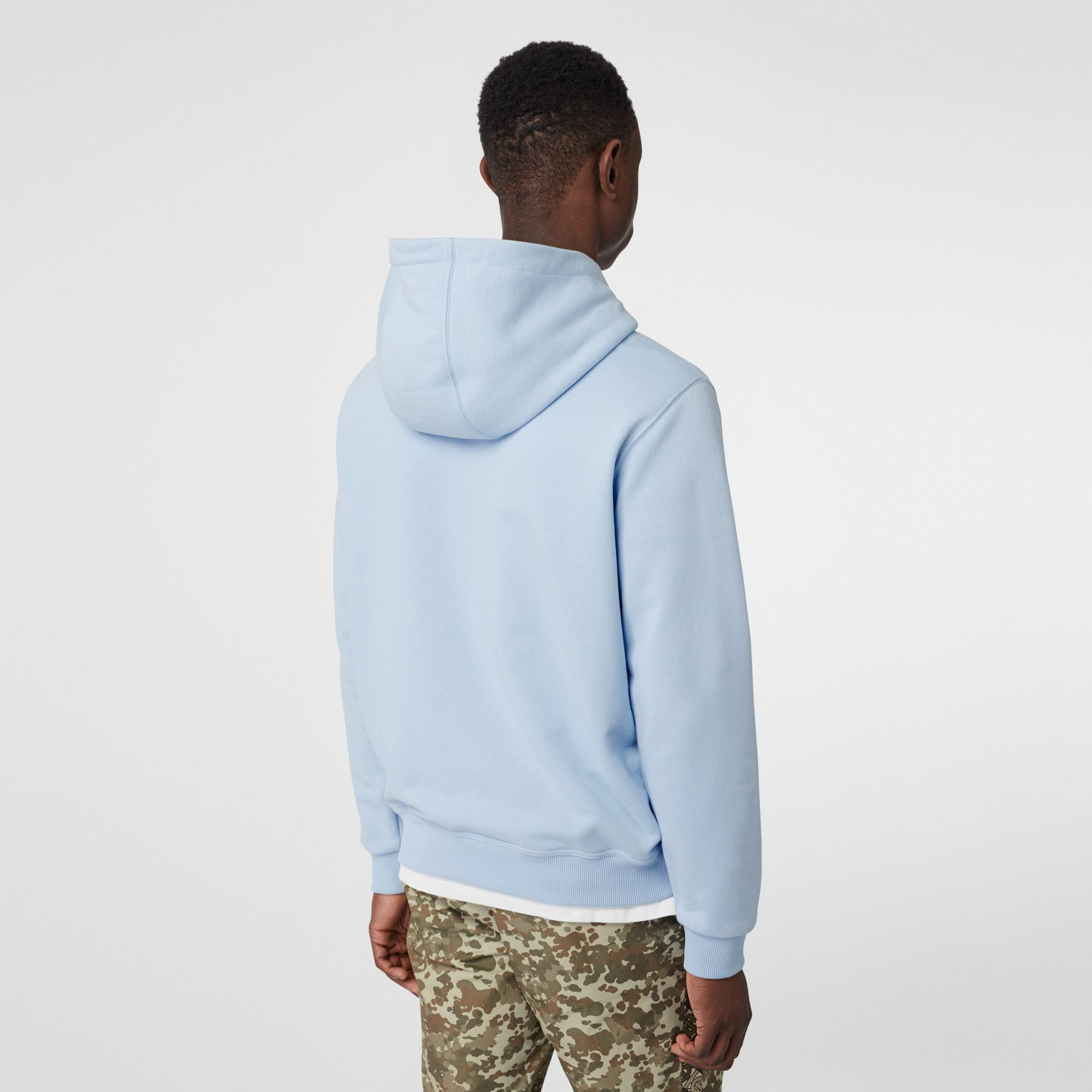 Monogram Motif Cotton Hoodie in Pale Blue - Men | Burberry - gallery image 2