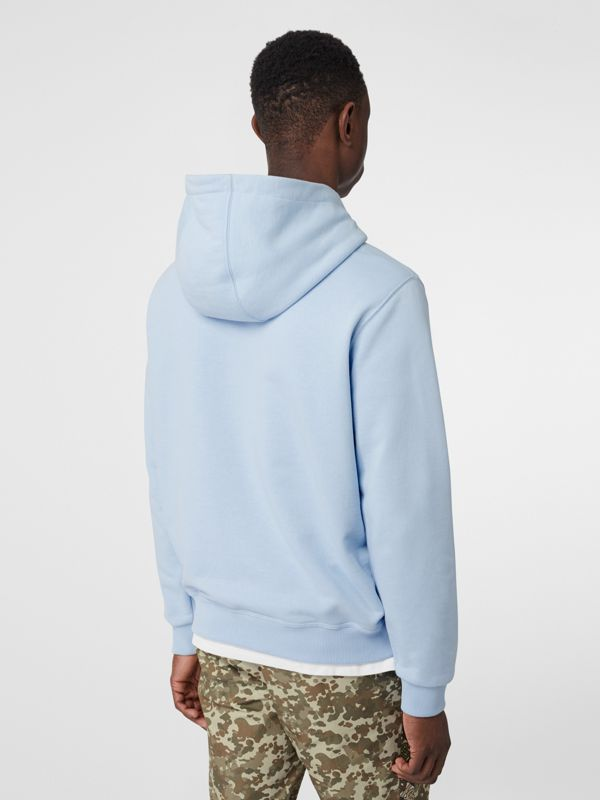 Monogram Motif Cotton Hoodie in Pale Blue - Men | Burberry - cell image 2