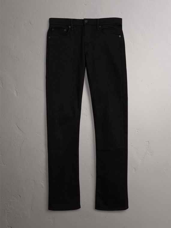 Straight Fit Stretch-denim Jeans in Black - Men | Burberry Canada - cell image 3