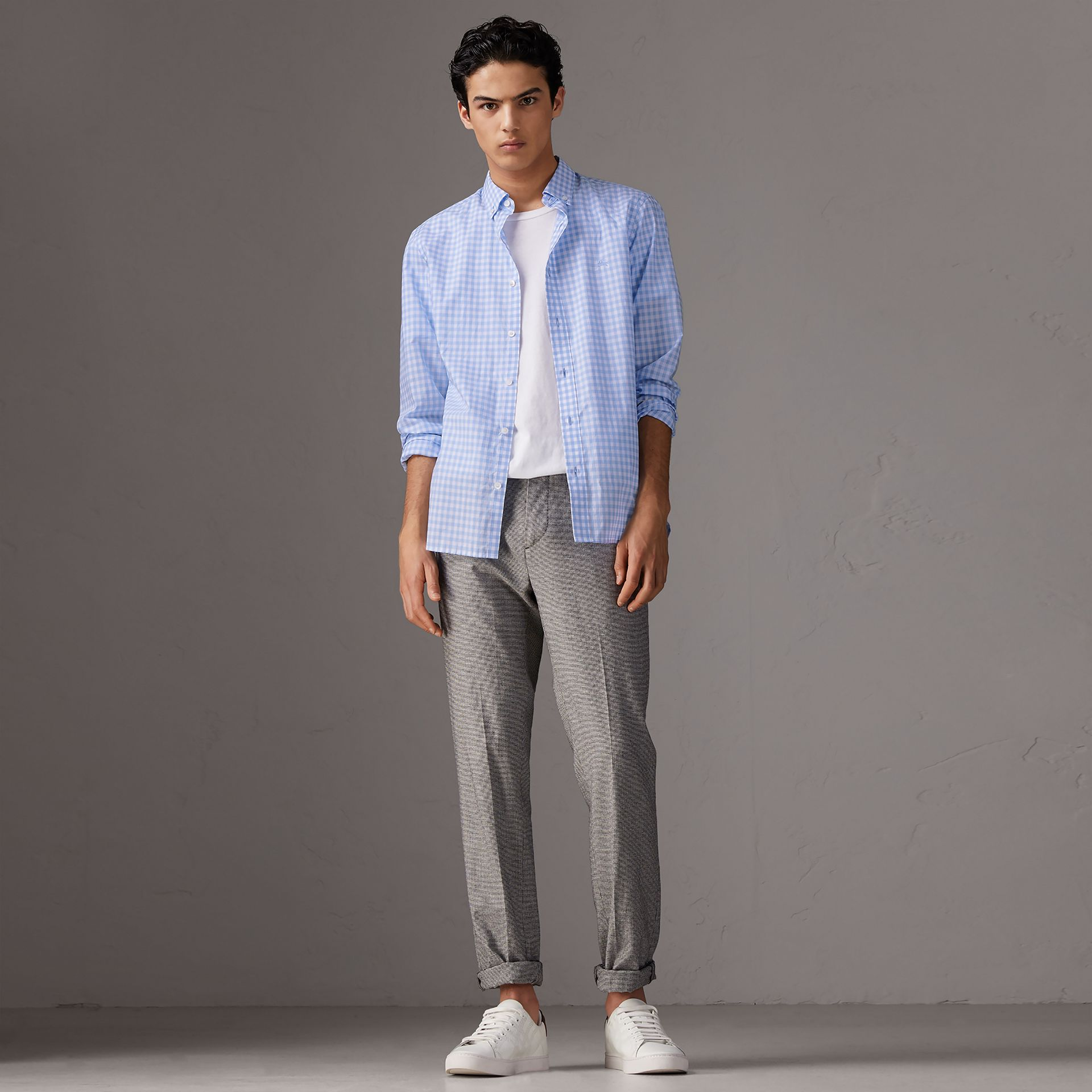 Button-down Collar Gingham Cotton Shirt in Pale Blue - Men | Burberry United Kingdom - gallery image 0