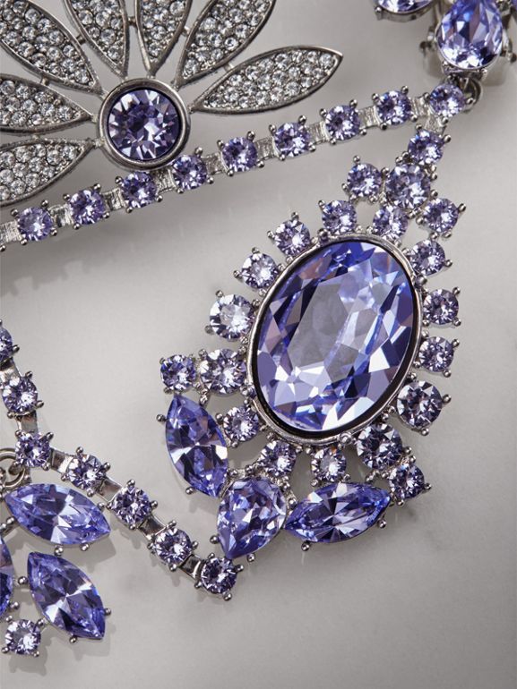 Crystal Daisy Chandelier Earring and Stud Set in Lavender Blue - Women | Burberry - cell image 1