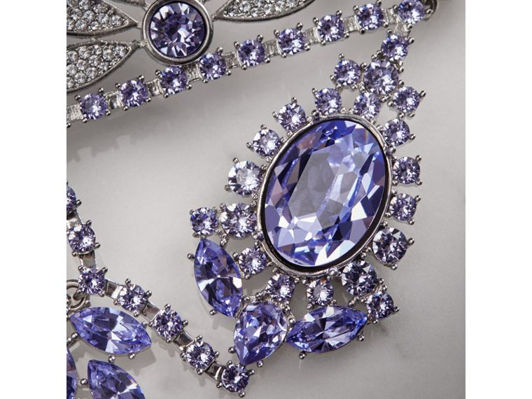 Crystal Daisy Chandelier Earring and Stud Set in Lavender Blue - Women | Burberry United Kingdom - cell image 1