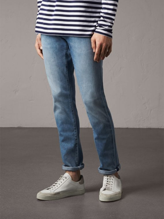 Straight Fit Light-wash Denim Jeans in Indigo Blue - Men | Burberry - cell image 3