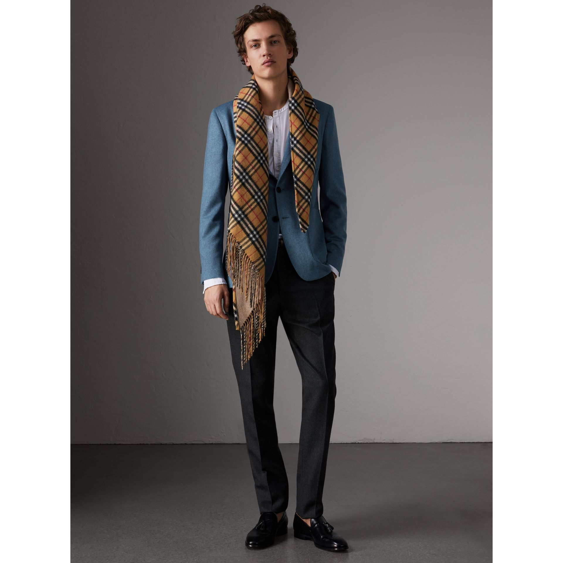 Soho Fit Lightweight Cashmere Tailored Jacket in Slate Blue Melange - Men | Burberry Australia - gallery image 0