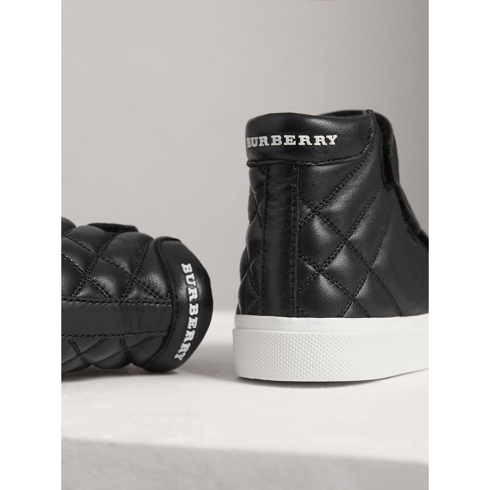Check-quilted Leather High-top Sneakers in Black | Burberry - gallery image 2
